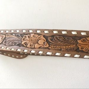 Chambers Accessories - Chambers hand tooled leather belt. Silver buckle.